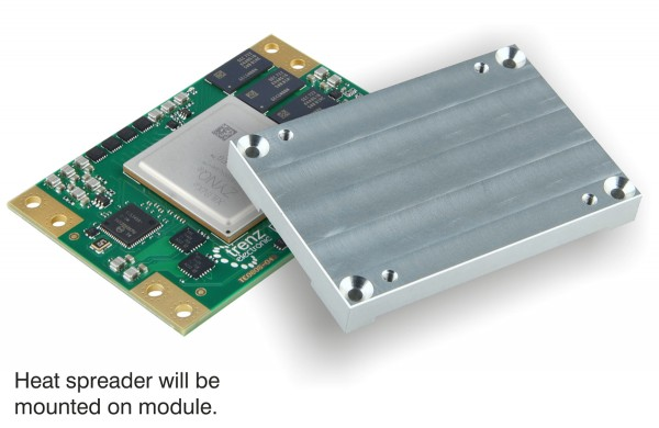 UltraSOM+ MPSoC-Modul with Zynq UltraScale+ ZU9EG-I and mounted Heat Spreader
