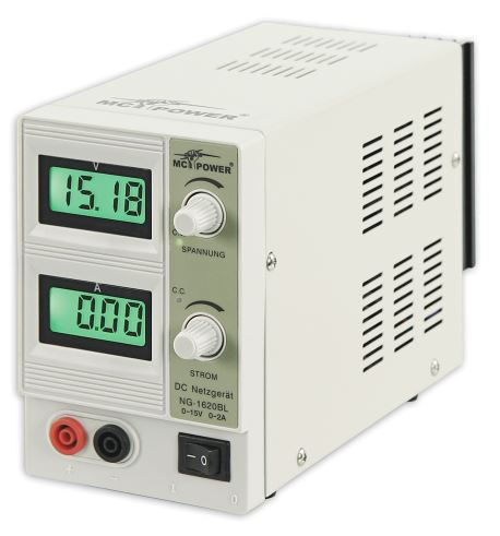 Labornetzgerät Modell NG-1620 BL, regelbar 0-15 V, 2x beleuchtete LCDs, 30 W