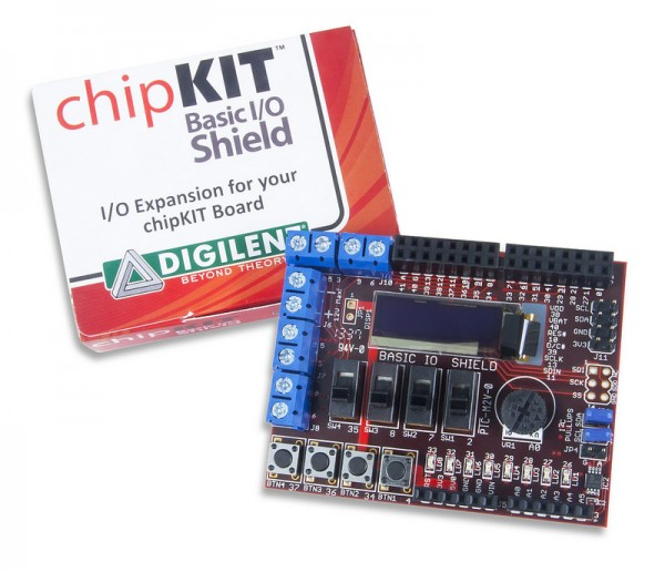 Basic I/O Shield: Input/Output Expansion Add-on Board with OLED Display