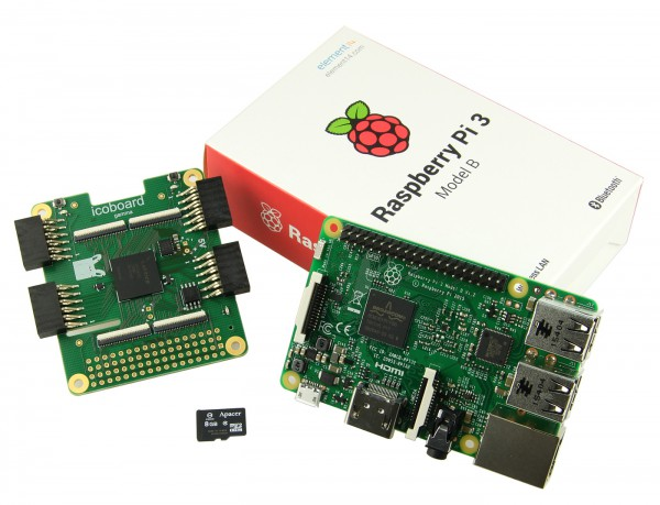 Starterkit with icoBoard Version 1.1 (8 MBit SRAM), Raspberry Pi 3 +SD-Karte