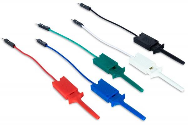 Mini-Grabber-Testclips mit Anschlusskabel (5er-Pack)