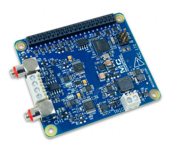 MCC 172 IEPE Messung DAQ HAT für Raspberry Pi® inkl. 2 Koaxial-Kabel